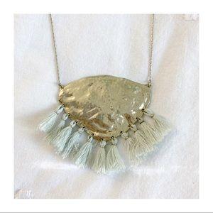 Anthropologie hammered brass look tassel necklace